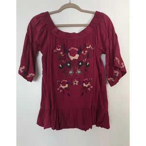 Umgee Off the Shoulder Embroidered Top